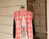 Sleeveless Flannel Shirt - Tunic - Womens XXL - Boho Clothing - Upcycled - A- Line Style ~ Pink Plaid Rose Floral Shabby Chic Clothing