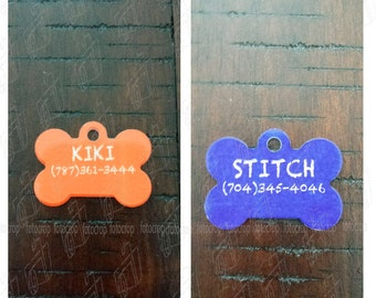 Personalized Pet Tag Custom Dog Bone Cat with Pet Name Phone Number ID New!