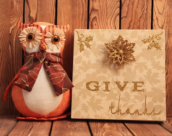Give Thanks,Thanksgiving Decoration,Fall Decorations,Christmas Decorations,Framed Wall Art,Christmas Sign,Christmas Gift,Holiday Decor