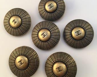 Sale -Set x 6 (25mm) IMPRESSIVE Estate Sale Preowned Vintage Large Bronze Gold Colour Metal Round Buttons - RARE
