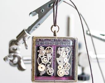 Double sided - Cyberpunk Necklace - Steampunk - Pendant - Steampunk Electronic Neckalce - Victorian Jewelry - Geek Things -Statement Jewelry