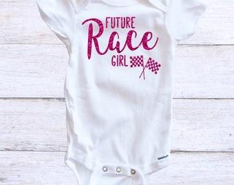 Race Girl Onesie - Baby Girl - Racing Fan - BMX Racing - Nascar Racing - Motocross Racing - Baby Race Fan - Nascar Fans - Baby Onesie - Baby