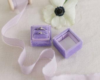 Purple Velvet Ring Box, Vintage Ring Box, Wedding Gift