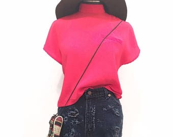 HOT PINK Blouse VINTAGE High Neck Boxy Top