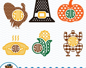 Thanksgiving Monogram SVG, Thanksgiving Designs, Thanksgiving Clip Art, Thanksgiving for Cricut, Silhouette Studio, Instant Download ark-3