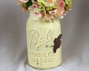 Painted Mason Jar with Flowers / Distressed Mason Jar / Painted Mason Jar / Farmhouse Decor / Shabby Chic Decor / Rustic Decor