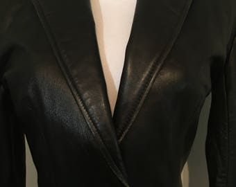 Vintage 90s Cache Leather Blazer Jacket XS