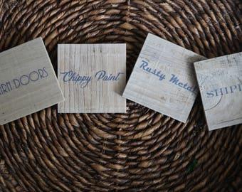 Farmhouse Coasters - Rustic Reclaimed Wood Coasters- Coaster Set of 4 - Natural Coaster Set - Rustic Coaster Set - Reclaimed Coasters