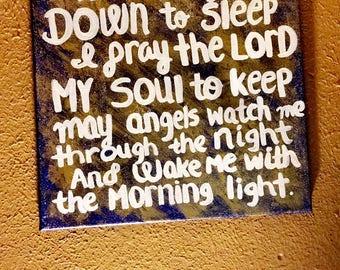 Now I Lay Me Down To Sleep 12x12 Acrylic Painting Baby Toddler Prayer Room Decor Wall Decor Home Decor Bedroom Decor