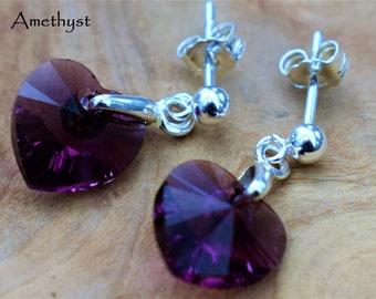 Sterling Silver dangly earrings with Swarovski® Amethyst Crystal