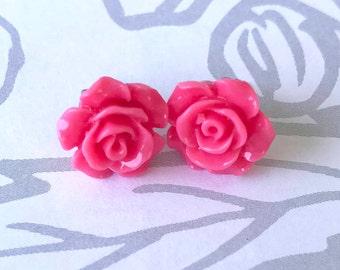 Pink Rose Stud Earrings - Nickel Free