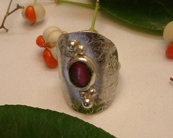 Ammolite Ring Sterling Silver Size 5 1/2 Saddle Ring Gem Ammolite Utah Deposit Statement Ring Size 6 3/4 Boho Red to Orange-Red Fire  343 G