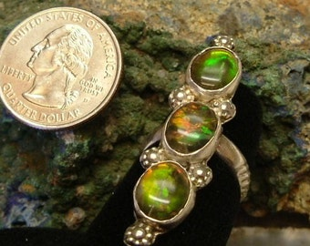 Bright Red, Orange, Green and Yellow Gem Ammolite (ooak) 3 Stone Ring from Utah Deposit in Sterling Silver Ring Size 7 1/4   204B