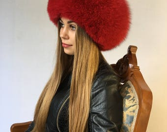 Saga Fox Fur Fur Hat Saga Fox Full Beret Style Hat
