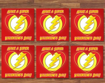The Flash Valentine's Day Cards - Flash School Valentines - Red & Yellow Logo - Flash Party Printables - Superhero Valentine's Day Cards