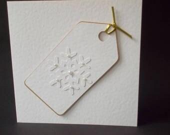 Handmade Christmas Card - snowflake tag - gold