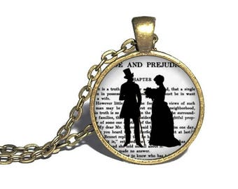 Pride and Prejudice Necklace, Darcy and Elizabeth Silhouette, Jane Austen Quote Jewelry, Elizabeth Bennett and Mr Darcy Necklace