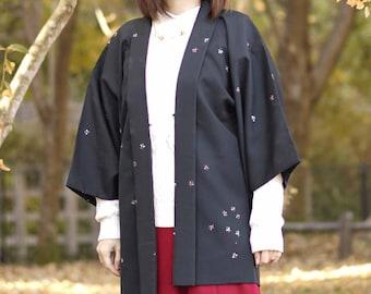 Black Haori with butterfly, Japanese kimono, womens haori