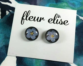 Forget Me Not Glass Studs - 12mm