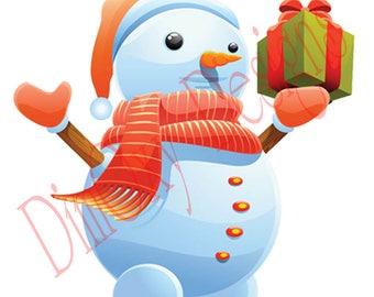 Snowman with gift. Christmas and Holiday window Static Cling decor. OSD-SCFC-CSMG1