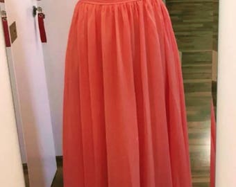 Coral Long chiffon bridesmaids dress