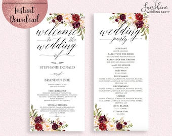 Red Floral Wedding Program Template, Printable Script Font 4x9 Wedding Ceremony Program Template, Editable PDF file, Digital Download