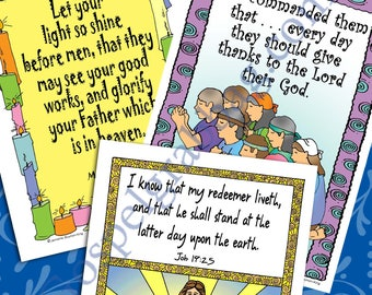"""2018 Scripture Posters/Cards BUNDLE #4 Primary Sharing Time """"I Am a Child of God"""" Oct. - Matthew 5.16, Nov. - Mosiah 18.23, Dec. - Job 19.25"""