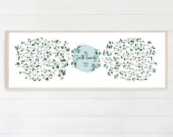 Family Tree, Custom Family Tree, Family History, Family Tree Chart, Family Tree Print, Wall Art, up to 6 Generations, Watercolor Ruscus