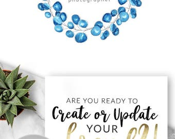 LOGO, Premade Logo, Design, Branding, Blog Header, Photography, Business, Boutique, Website, Jewellery, Makeup Artist, Beauty, Blue, 548
