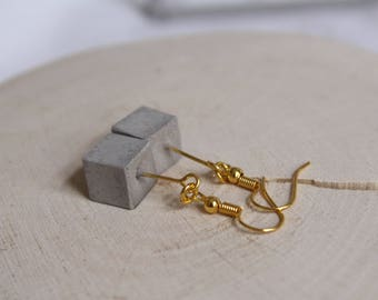 Concrete cube classic gold earrings