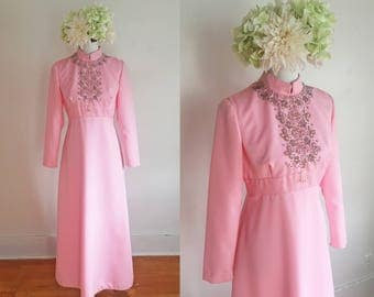 Vintage 1970s Pink Long Sleeved Beaded Bridesmaid's Dress - Size L