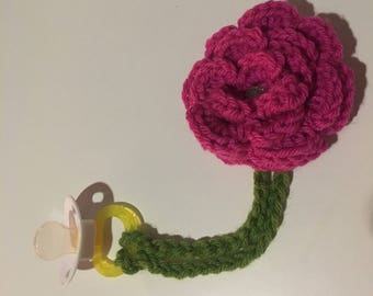 Baby Pacifier Clip - Crochet Large Pink Flower Pacifier Clip