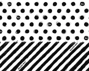 Spots and Stripes Wrapping Paper - Black and White - Kitsch - Hand Drawn Wrapping Paper - Kitsch Noir