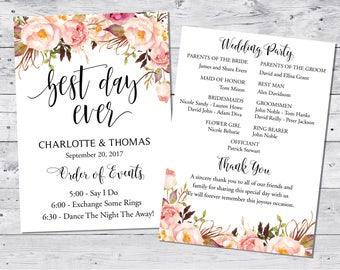 Wedding program template, Boho wedding programs, Best day ever program, Wedding Program Fan, Printable Wedding Program Fan, INSTANT DOWNLOAD