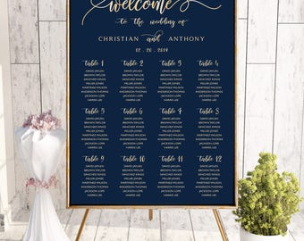 Navy seating chart, Wedding seating chart template, Wedding seating chart, wedding seating chart alphabetical, seating chart poster, #119