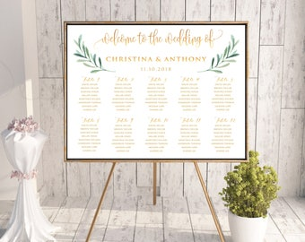 Greenery Wedding Seating Chart, Wedding Seating Chart, Wedding Table seating, wedding seating chart alphabet, seating chart template, SC166