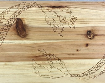 Japanese Style Koi Fish Wooden Serving Tray