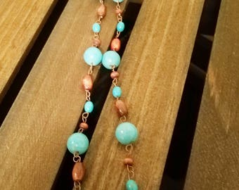 """Turqouise and wood bead Necklace. Long 26"""". FREE SHIPPING! EN14"""