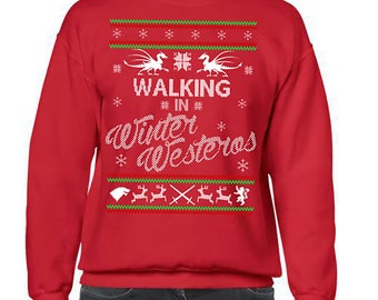 Ugly Christmas Sweater, Game of Thrones, Ugly Christmas Party, Winter Westeros Christmas Sweatshirt, Ugly Sweater Party