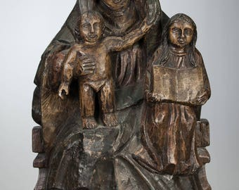 "RARE Saint Anne with Virgin Mary and Jesus Child Antique Wooden Statue Carved 17"" Large Spain 18th/19th Century"