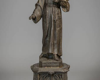 """Saint Anthony with Baby Jesus Metal Figurine St Child Spelter Statue 9"""" Large"""