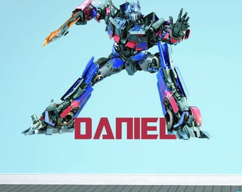 Transformers Optimus Prime Wall Sticker Personalised Name Vinyl Decal Children's Bedroom