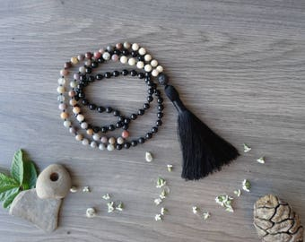 Mala necklace, Meditation Mala, 108 Mala, Yoga Necklace, Tassel Mala, Boho Necklace, Onyx Mala, Gemstone Mala, Prayer Beads, Black Mala