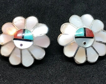 Vintage Old Pawn Sterling Silver Zia Sun Face Zuni Inlay Earrings MARKED