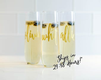 Champagne Flute/Bridesmaid Gift/Personalized Stemless Glasses/Bridesmaid Champagne Glasses/Personalized Champagne Flute/Monogram Glasses