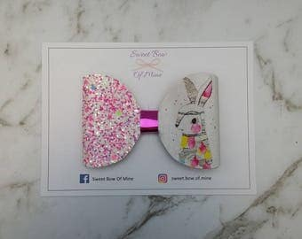 RABBIT BOW Hair Clip   Large Bow   Glitter Bows, Rabbit, Bright Colours, Pink Glitter