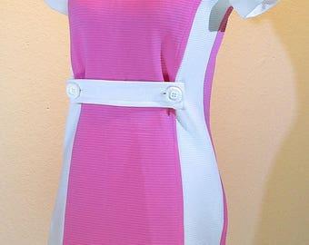 "60s Pink & White ""Jackie O"" Dress *36 bust"