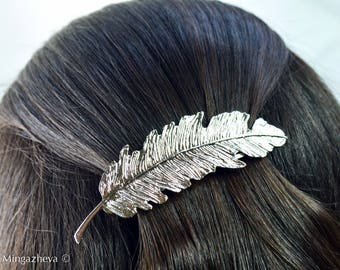 hair pin hair slide silver color feather Valentine's Day gift idea