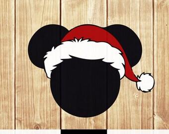 Mickey Holiday Christmas SVG PNG Santa Hat SVG Png Vector Cut File digital download boy girl shirt print  cricut cut file silhouette