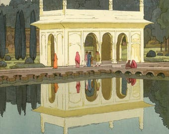 """Japanese Art Print """"Shalimar Garden, Lahore"""" from the India and Southeast Asia Series by Yoshida Hiroshi, woodblock reproduction, reflection"""